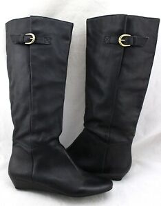 STEVEN-BY-STEVE-MADDEN-Intyce-Black-Leather-Buckle-Wedges-Knee-High-Boots-9