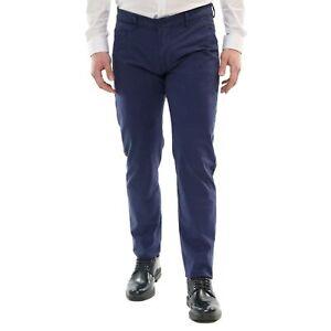Pantaloni-Uomo-Slim-Fit-Estivi-Cotone-Blu-Elegante-Chino-Casual-Tasca-America