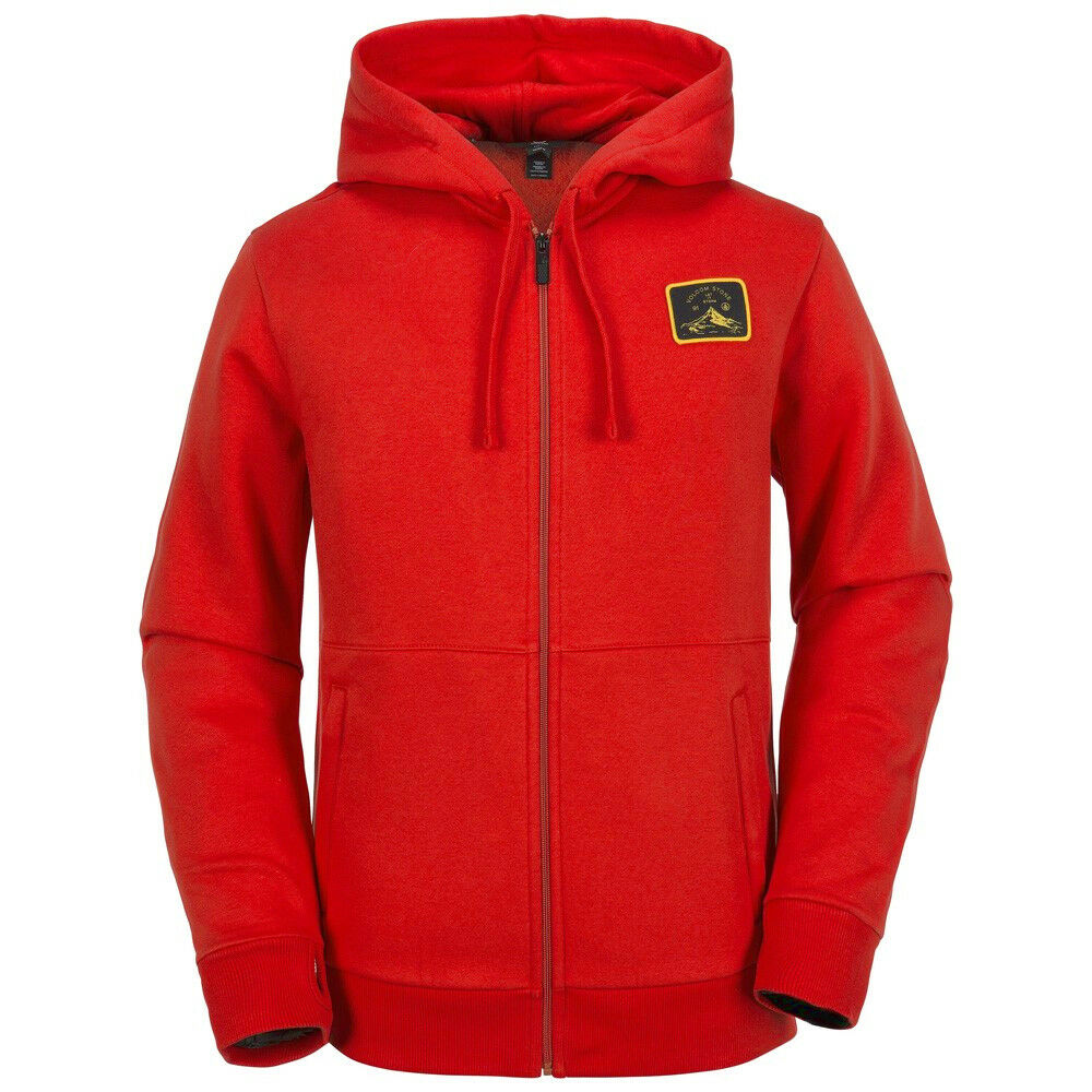 2018 NWT MENS VOLCOM TUNING FULL ZIP  UP FLEECE HOODIE  85 L Blood Red DWR  discount