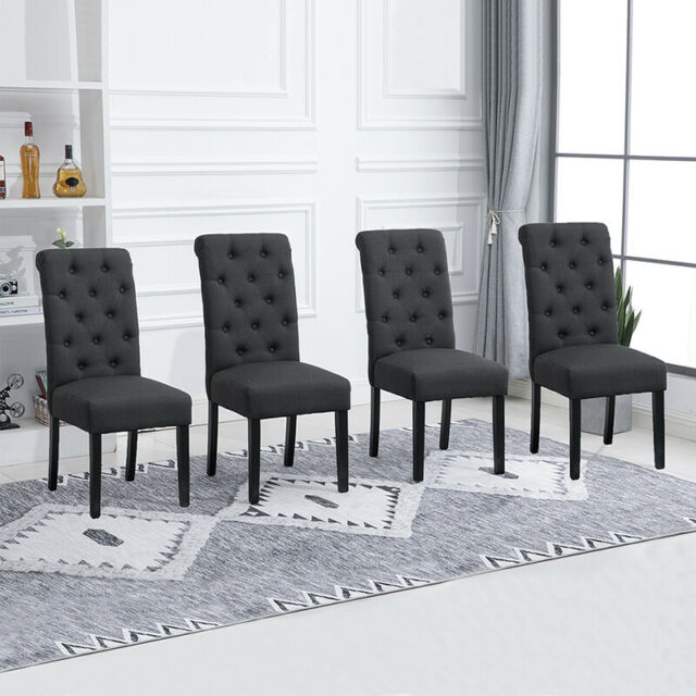 Set of 4 Dining Chairs Fabric Padded Button Tufted High ...