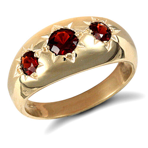 Garnet Ring Men's Solid gold Engagement Ring Three Stone Gents 9ct Yellow gold