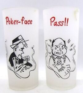 Frosted-Federal-tall-Card-Poker-themed-Glasses-POKER-FACE-amp-PASS-Vintage-6-25-034