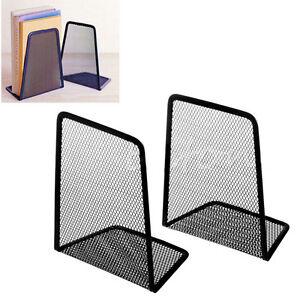 1Pair-Metal-MeshDesk-Organizer-Home-Desktop-Buero-Buchstuetzen-Buchhalter-SchwarzZ