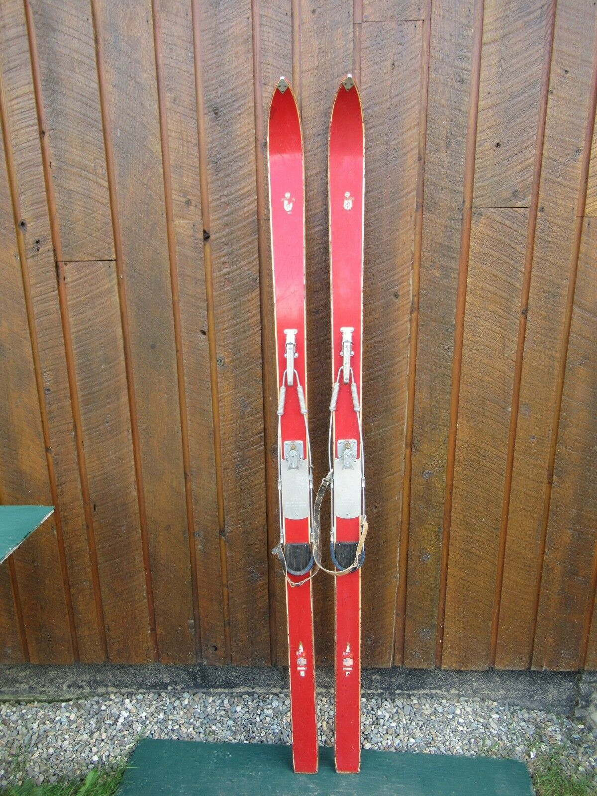 VINTAGE HICKORY Wooden 71  Skis Has Original Finish MONT Weiß