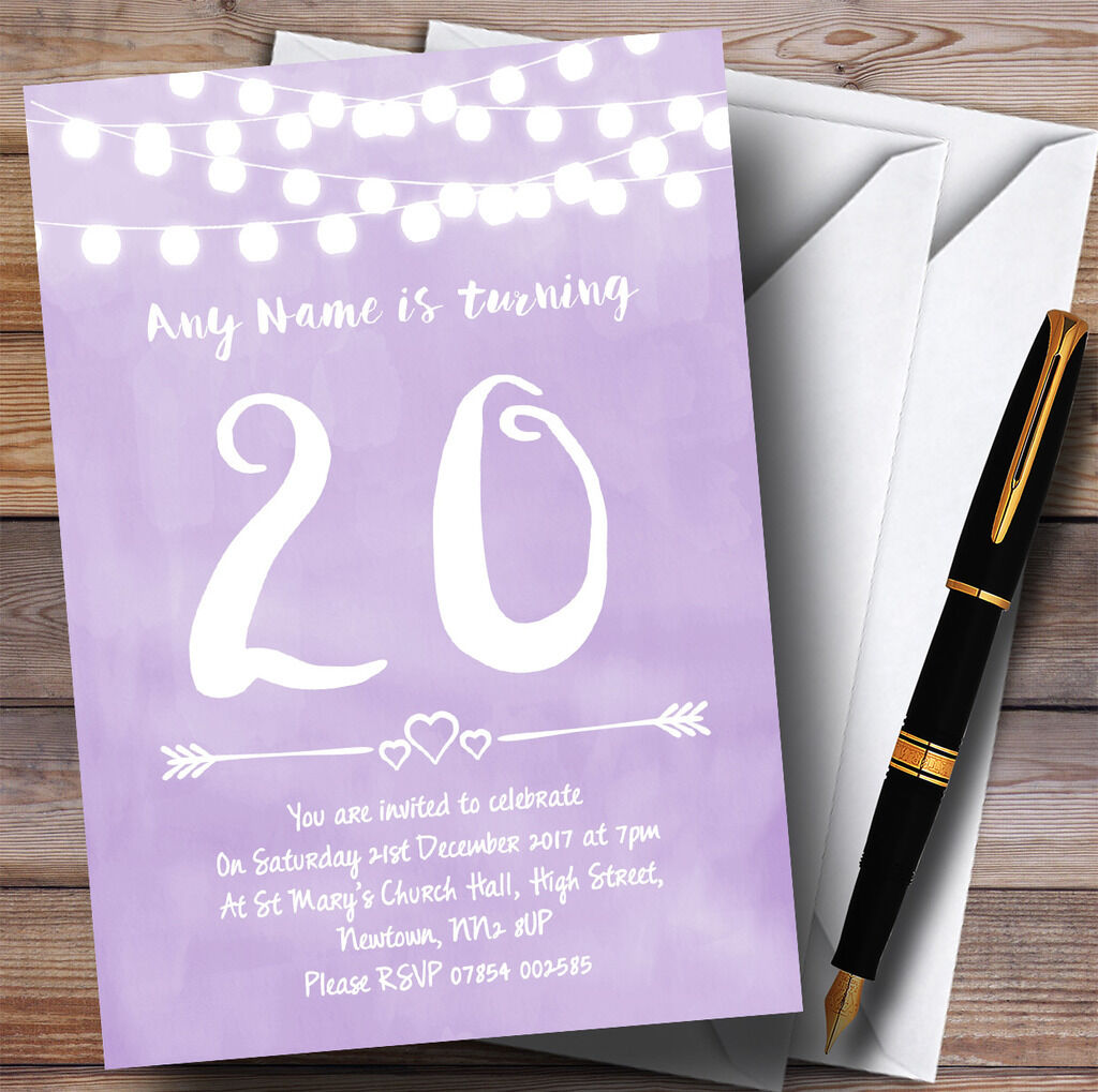 lila Lilac Lights 20th Personalised Birthday Party Invitations