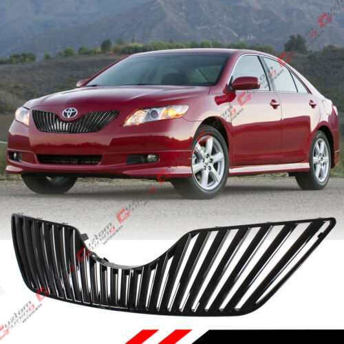 FOR 07-09 TOYOTA CAMRY LE SE XLE GLOSSY BLK VIP VERTICAL FRONT HOOD GRILL GRILLE