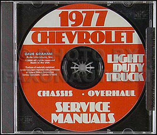 1977 Chevy Truck Shop Manual CD Pickup Blazer Suburban Van C10 C20 C30 K10-K30