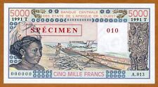 SPECIMEN West African States, Togo, 5000 (5,000) Fr, 1991 P-808Ts UNC