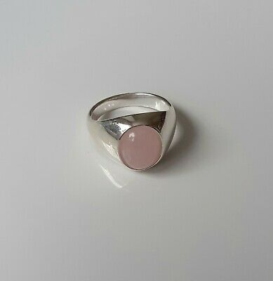 R Brand New 925 Sterling Silver and Rose Quartz Unisex Signet Ring Sizes K