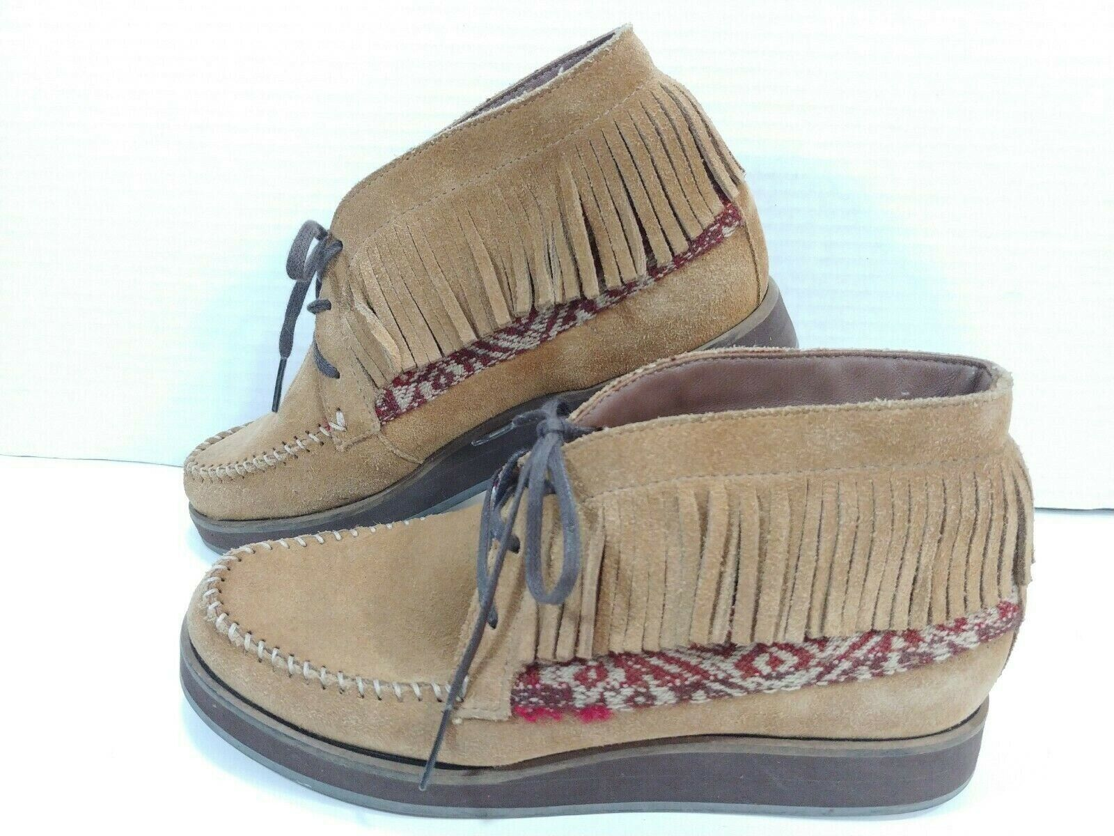 ANTHROPOLOGIE Fortress of Inca Leather Fringe Moccasin Ankle Boot Shoes Women 6M