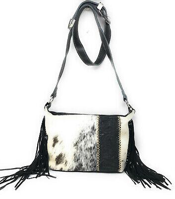 Western Handbag Classic Concho Embossed Concealed Carry Shoulder Bag with Fringe