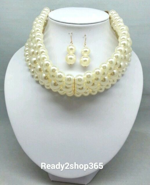 Faux Pearl Multi 5 Row Layer Wide Necklace Stacked Collar Choker Beaded Strand
