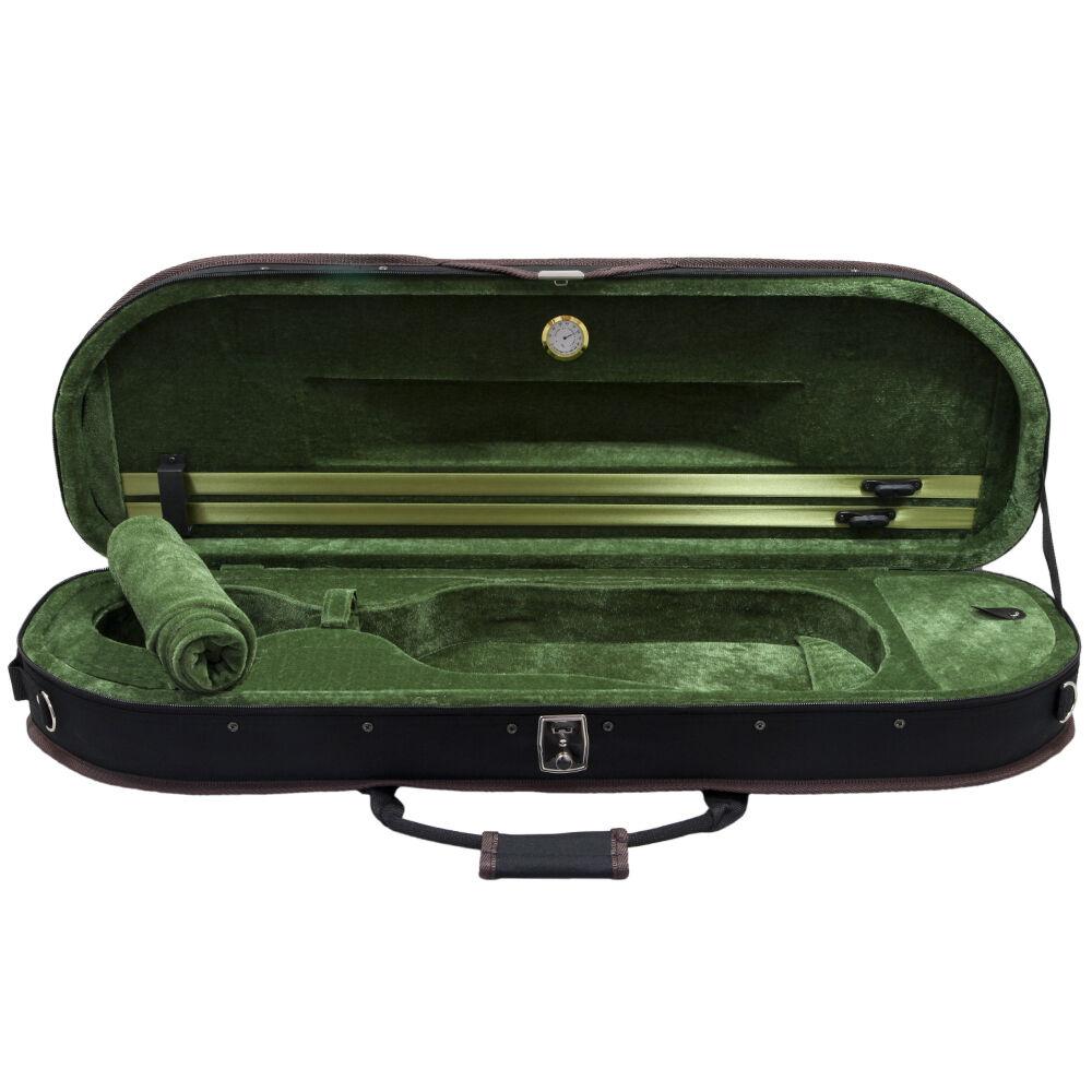 NEW Top Halfmoon Deluxe 4 4 storlek Acoustic Violin Fiddle Case grön w  Strap