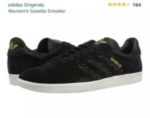 Details about Size 7 Women's adidas Originals Gazelle Suede Sneakers BY9364 Black/Gold