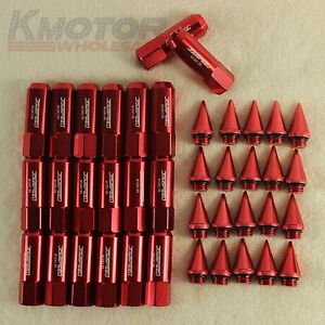 Red-20PCS-M12X1-5-Cap-Spiked-Extended-Tuner-60mm-Aluminum-Wheels-Rims-Lug-Nuts
