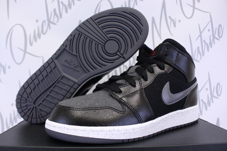 Nike Air GS Jordan 1 Mid Premium GS Air GG 6.5 y negro gris oscuro para el invierno 7d3501