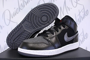 NIKE AIR JORDAN 1 MID PREMIUM GS GG 5 Y BLACK DARK GREY WINTERIZED ... 399123872
