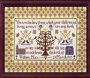 CLEARANCE-Sampler-traditional-style-cross-stitch-birth-sampler-chart