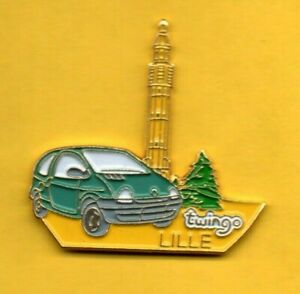 Pin-039-s-lapel-pin-pins-Car-Auto-voiture-RENAULT-TWINGO-LILLE-BEFROI-Signe