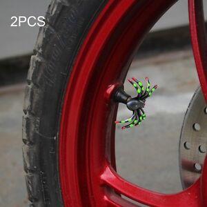 2x Plus Drôle Moto Pneus Valve Bouchon Capuchon Dissertation Araignée Vert Helloween-afficher Le Titre D'origine 100% D'Origine