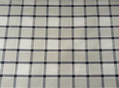Fairford check Cotton Pebble Grey  140cm wide Curtain//Craft Fabric