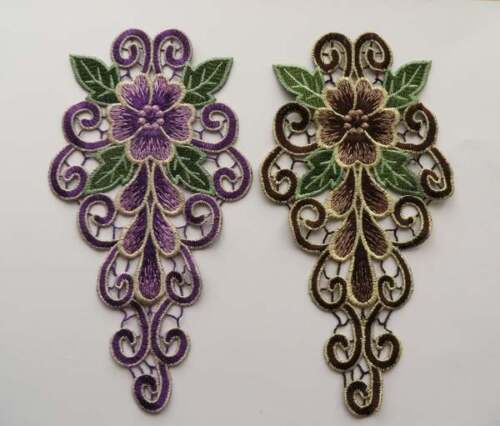 purple or brown shoulder trim Embroidered guipure lace applique neck