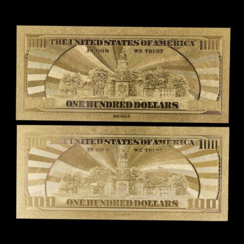 10pcs US$100 dollar 24k Gold Foil Golden USD Paper Money Banknotes CollectiF/_DM
