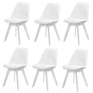 6x Design Sedie Sala da Pranzo Bianco Sedia Plastica Cuoio Arte ...