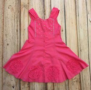 eliane et lena pink flower sequin corset dress size 6 y