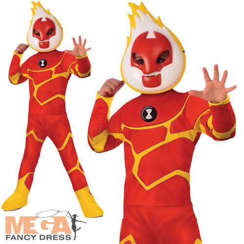 Heatblast Boys Fancy Dress Ben 10 Alien TV Cartoon Kids World Book Day Costume