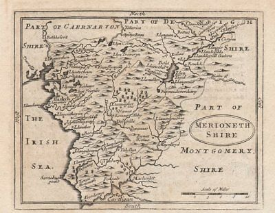 Antique County Map Of Merionethshire By John Seller / Francis Grose C1780