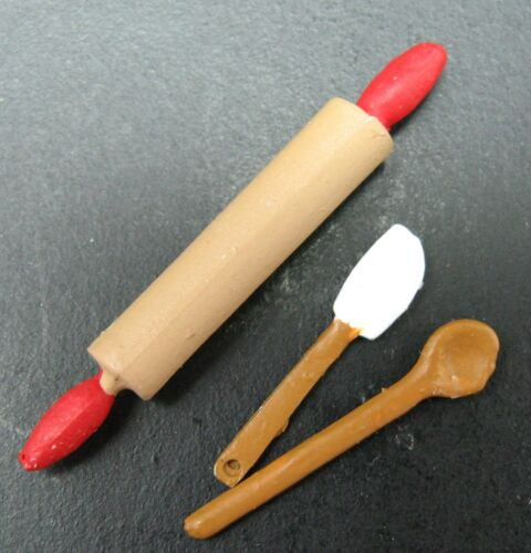 Dollhouse Miniatures Handcrafted Kitchen Baking set Roling Pin Spoon /& Spatula