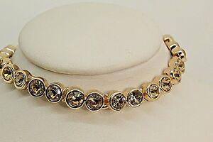 Details About Signed Swarovski Tennis Bracelet Colorado Topaz Rose Gold Plated Extender B131