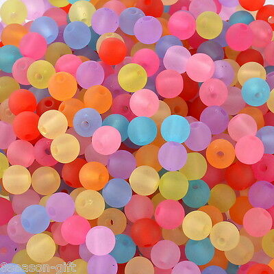 """HX 1000PCs Acrylic Spacer Beads Frosted Round Ball Mixed 6mm(2/8"""")Dia."""