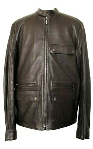 NEW-DUNHILL-MEN-039-S-BROWN-LAMBSKIN-LEATHER-JACKET-L-2650