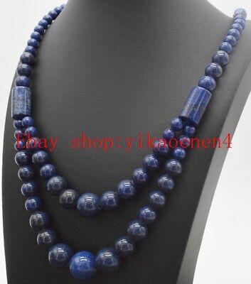 Long 20inch 10mm Blue Galaxy Sitara Sun Gemstone Necklace AAA+