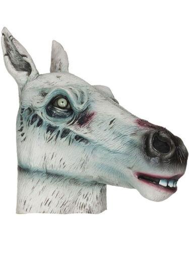 Zombie Horse Possessed Donkey Mask Horror Latex Halloween Head White Fancy Dress