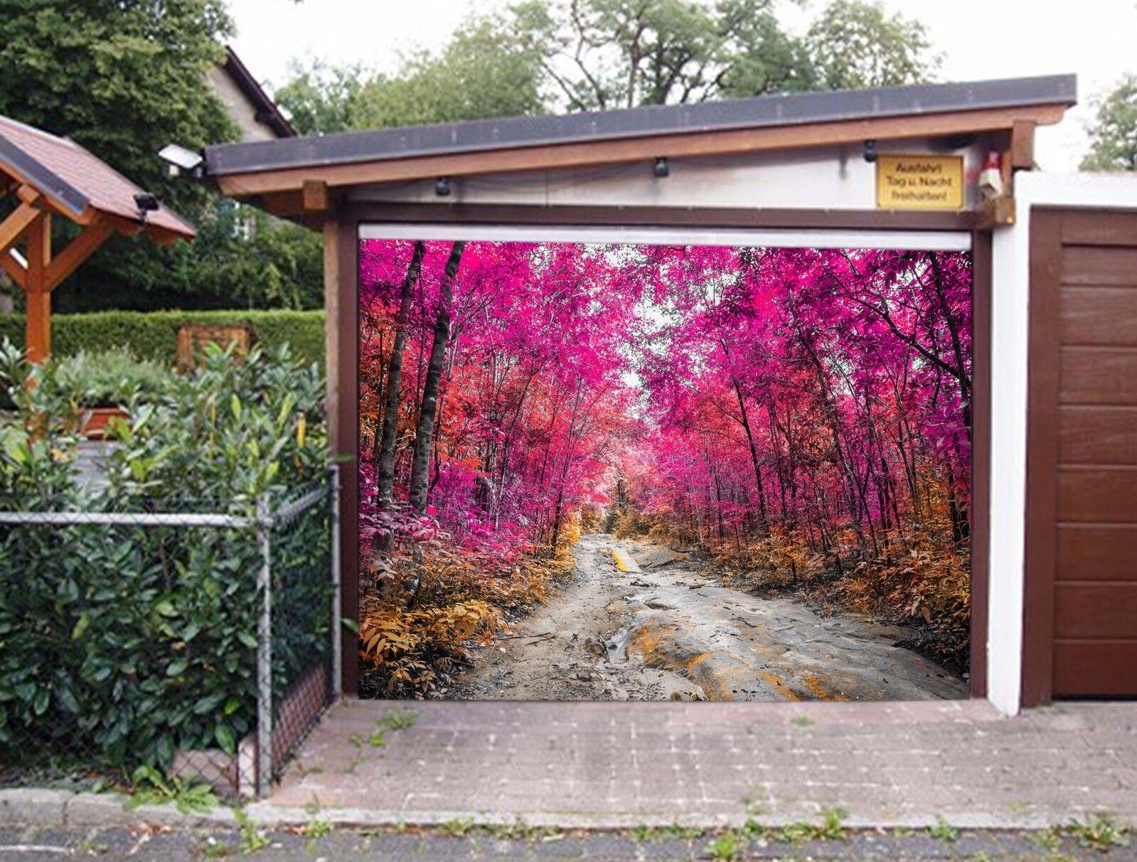 3D 3D 3D Rojo maderas Puerta De Garaje Impresión De Pared Calcomanía Pared Murales Wallpaper Deco AJ Reino Unido 79f13d