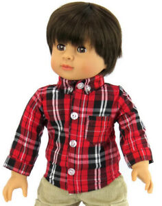 Red-amp-Black-Plaid-Long-Sleeved-Shirt-fits-18-034-American-Girl-Doll-Clothes-Boy