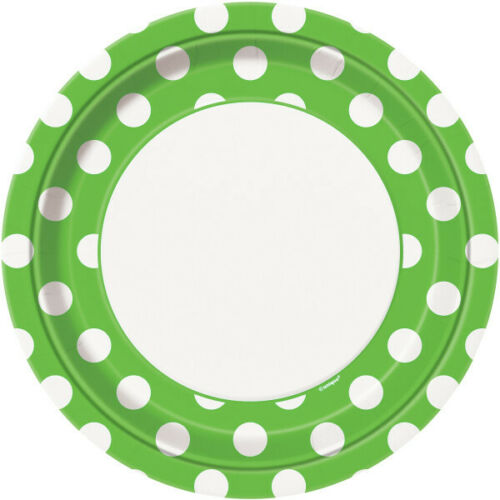 """8 x 9/"""" Paper Plates Lime Green Dots Adults Party Tableware Supplies Polka Spotty"""