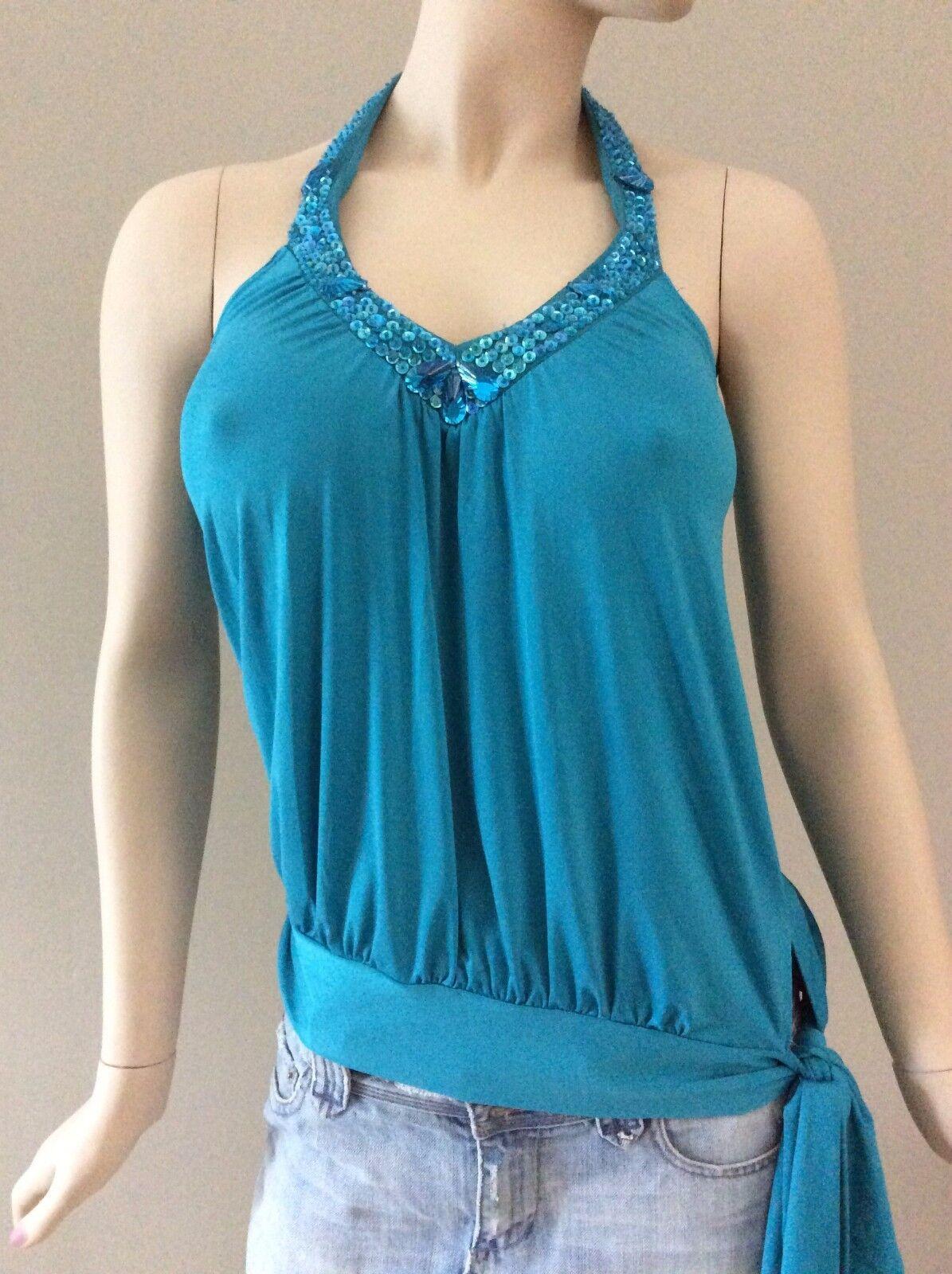 Arden B. Turquoise Blau Beaded Neckline Halter Top Größe S