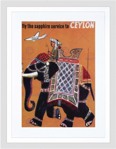 TRAVEL SAPPHIRE CEYLON SRI LANKA ELEPHANT MAHOUT FRAMED ART PRINT MOUNT B12X4688