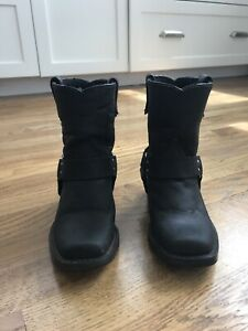 Lil-Durango-Little-Kids-Black-Harness-Boots-Leather-Sz-US-11-5-Motorcycle-Boots