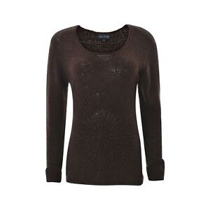 de5f269ad94ac3 Marc O'Polo Women sweater Shirt Size L D.brown Knitted Long Sleeve ...