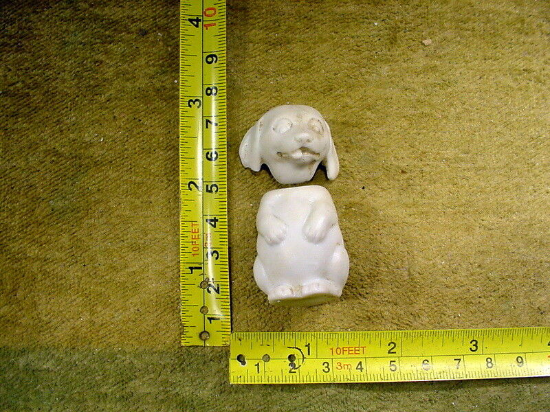Excavated vintage bisque swivel doll head + body funny dog Hertwig age1890 12122