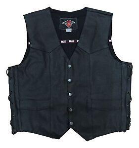 Black-Mens-Leather-Cruiser-Biker-Waistcoat-Gillet-For-Motorcycle-Motorbike