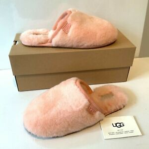UGG-Donna-Pantofole-taglia-5-6-7-dalla-SOFFICI-fluffette-PINK-slip-on-in-scatola-80