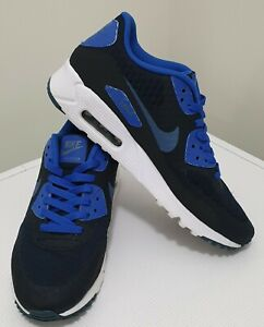 NIKE-Men-039-s-AIR-MAX-90-ULTRA-ESSENTIAL-White-Black-Blue-Shoes-Sneakers-US8-UK7