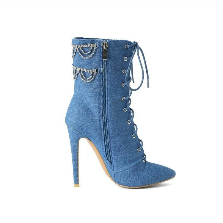 Women Pointy Toe Lace up up up Rhinestone Stilettos High Heels Denim Ankle Boots Plus 2f7ce1