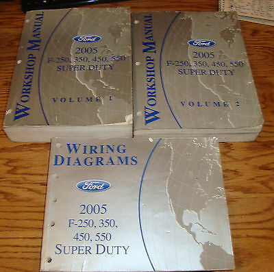 2005 Ford F-250 350 450 550 Shop Service Manual 1 & 2 ...